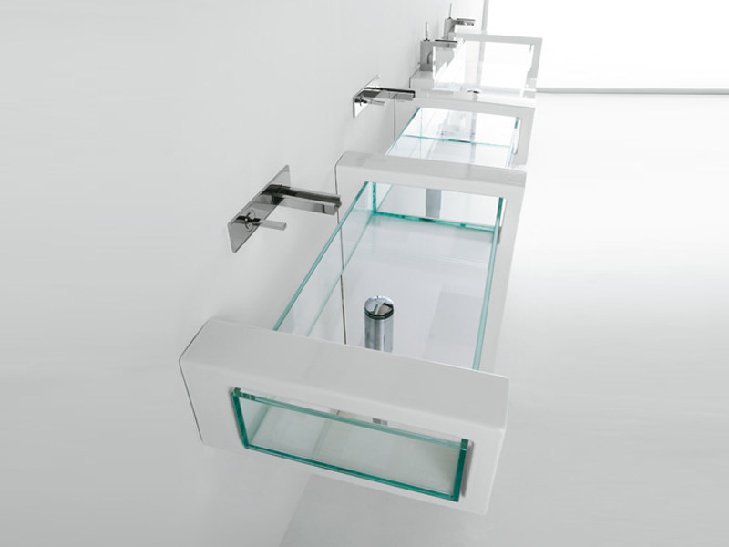 Wall-mounted glass washbasin GLASS | Wall-mounted washbasin by GSG Ceramic Design