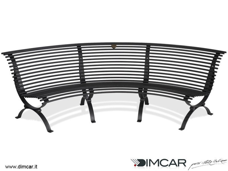 Curved galvanized steel Bench with back Panchina Clematis seduta lato concavo by DIMCAR