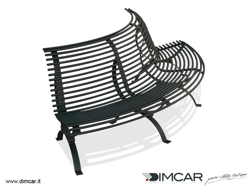 Classic style Curved metal Bench with back Panchina Clematis seduta lato convesso by DIMCAR