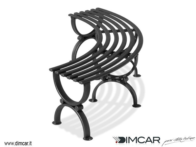 Classic style Curved Modular backless metal Bench Panca Siris by DIMCAR