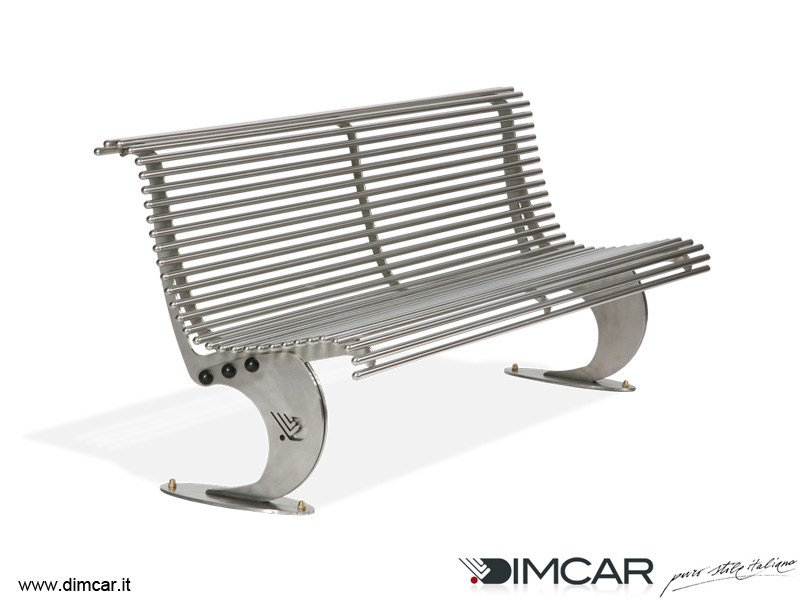 Contemporary style stainless steel Bench with back Panchina Luxe in acciaio inox by DIMCAR
