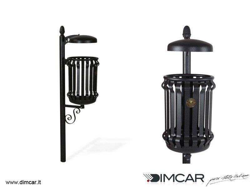 In-ground outdoor metal litter bin with lid Cestino Barocco con coperchio by DIMCAR