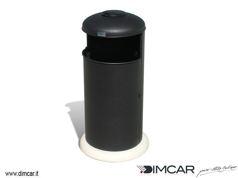 Outdoor metal litter bin with lid with ashtray Cestone Elmo con posacenere by DIMCAR