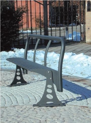 Contemporary style metal Bench with back LARIO BIT  1800 by SMEC