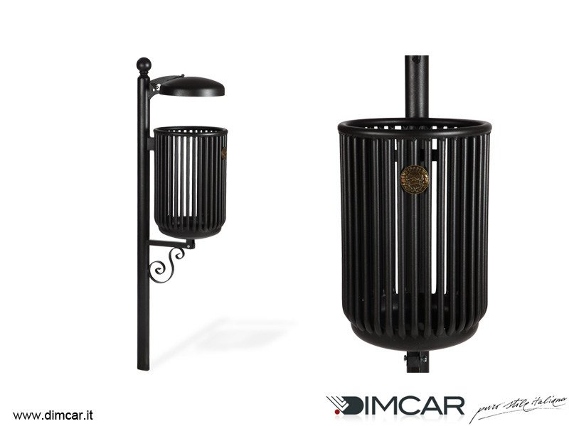 In-ground outdoor metal litter bin with lid Cestino Liberty con coperchio by DIMCAR