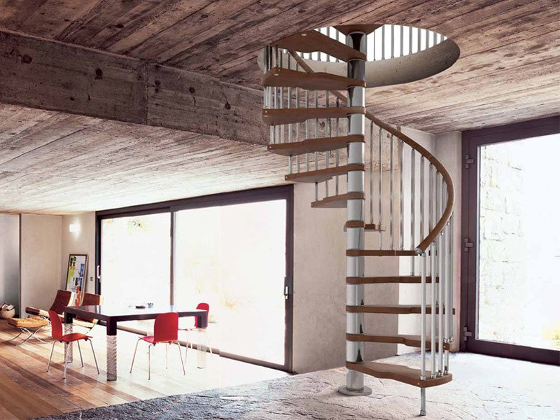 Stainless steel and wood Spiral staircase GENIUS 020 + 2:Easy by Fontanot