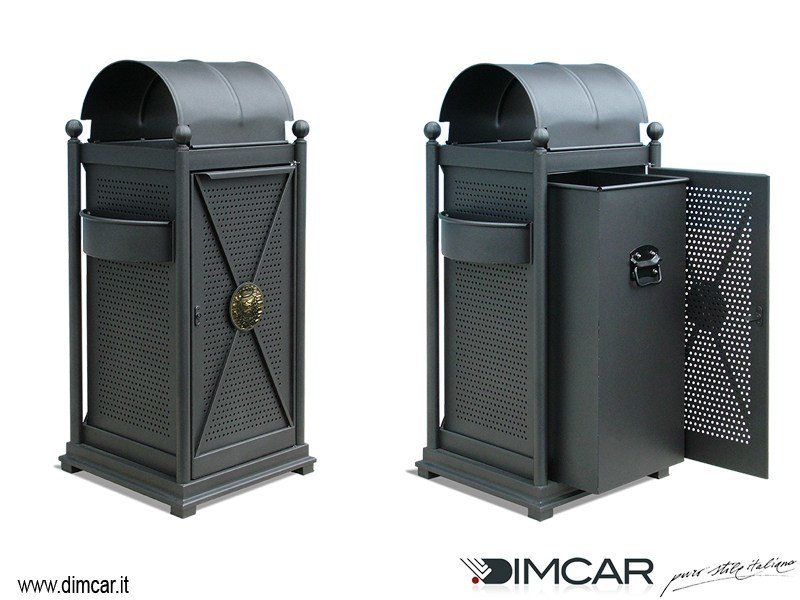 Outdoor metal litter bin with lid with ashtray Cestone Virgo by DIMCAR
