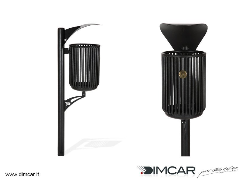 In-ground outdoor metal litter bin with lid Cestino Rudiae by DIMCAR