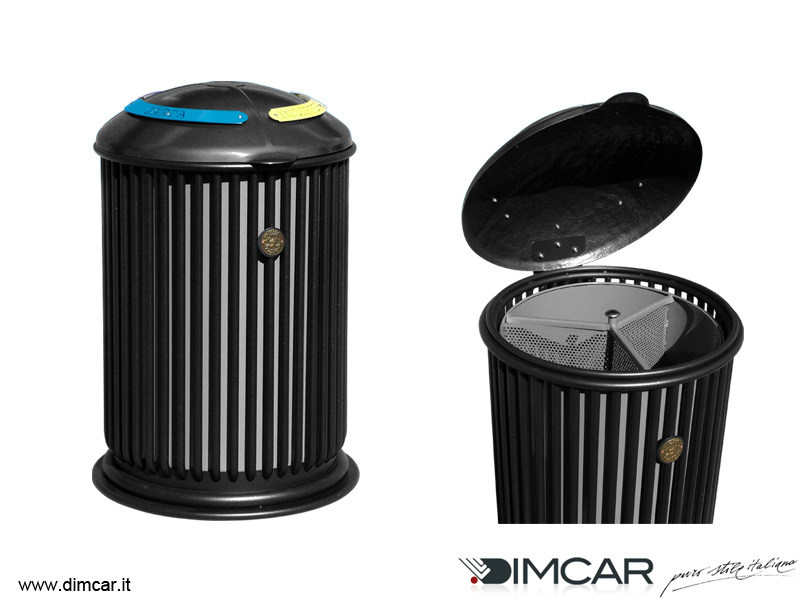 Outdoor metal litter bin with lid for waste sorting Liberty Maxy by DIMCAR