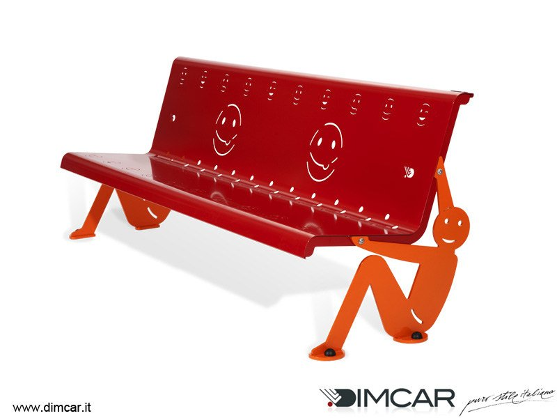 Contemporary style metal Bench with back Panchina Boy by DIMCAR