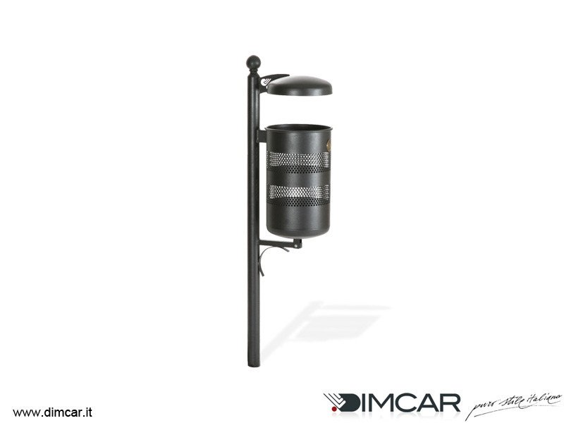 In-ground outdoor metal litter bin with lid Cestino Taormina con coperchio by DIMCAR