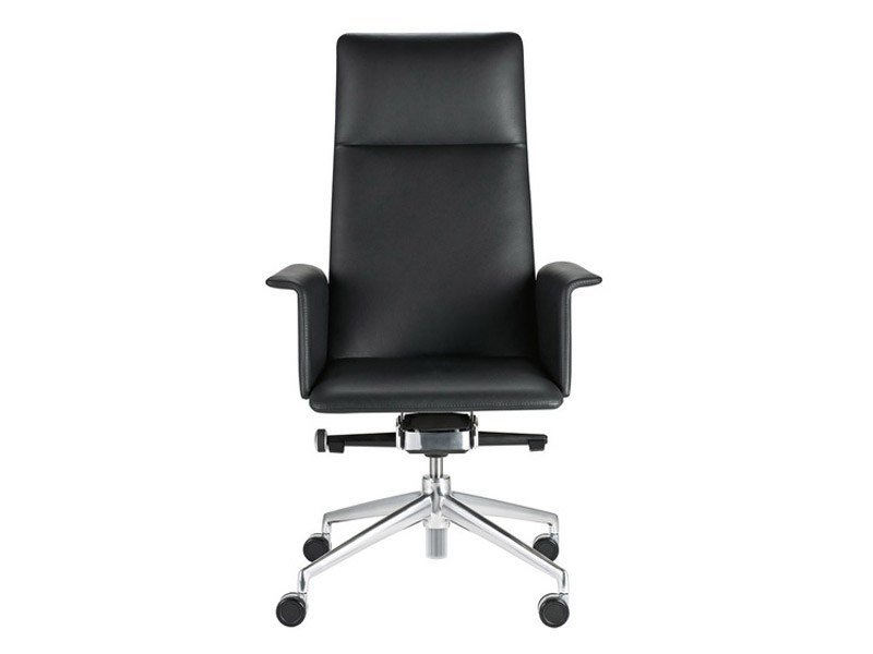 Leather executive chair with 4-spoke base with armrests with casters FINASOFT   Executive chair with armrests by Brunner