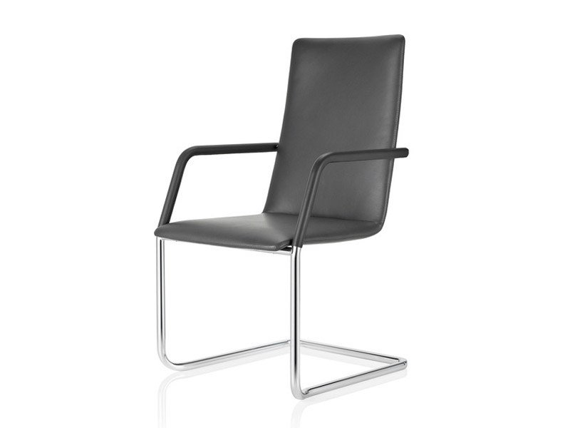 Cantilever leather visitor's chair FINASOFT | Leather chair by Brunner