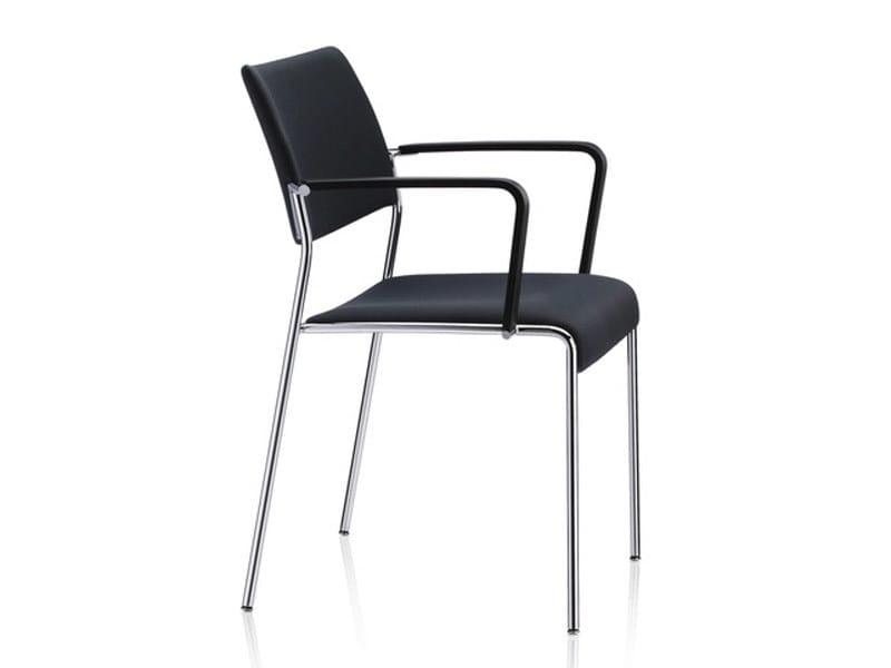 Sedia impilabile in tessuto con braccioli linos sedia con