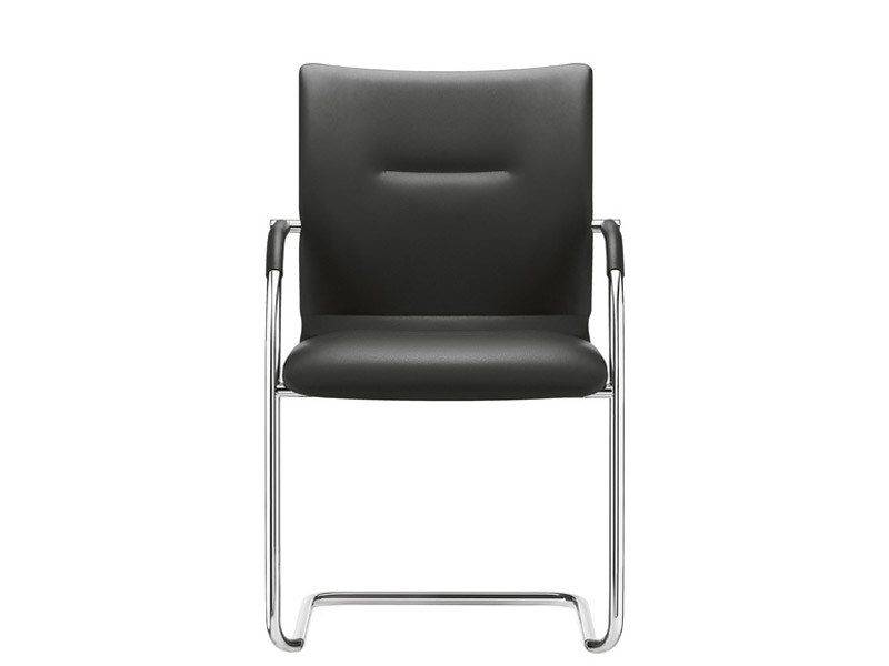 Cantilever stackable leather chair with armrests PLAZA | Cantilever chair by Brunner