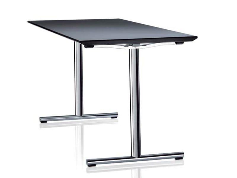 Folding rectangular office desk SLEIGHT by Brunner