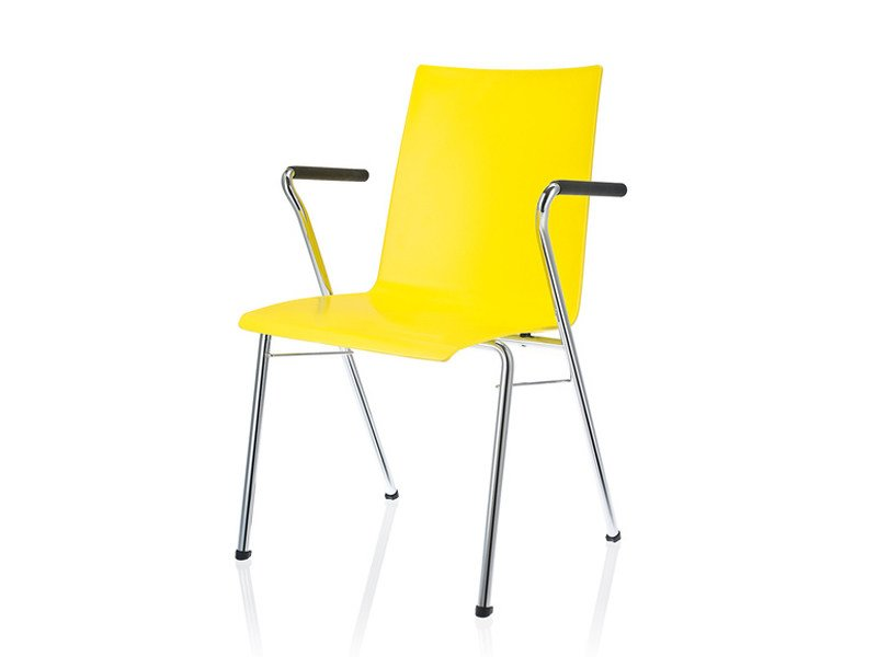 Plastic visitor's chair with linking device with Armrests TOOL 2 | Waiting room chair with Armrests by Brunner