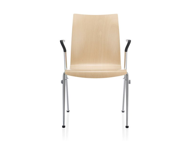 Stackable Auditorium wood veneer waiting room chair with Armrests TOOL 2 | Wood veneer waiting room chair by Brunner