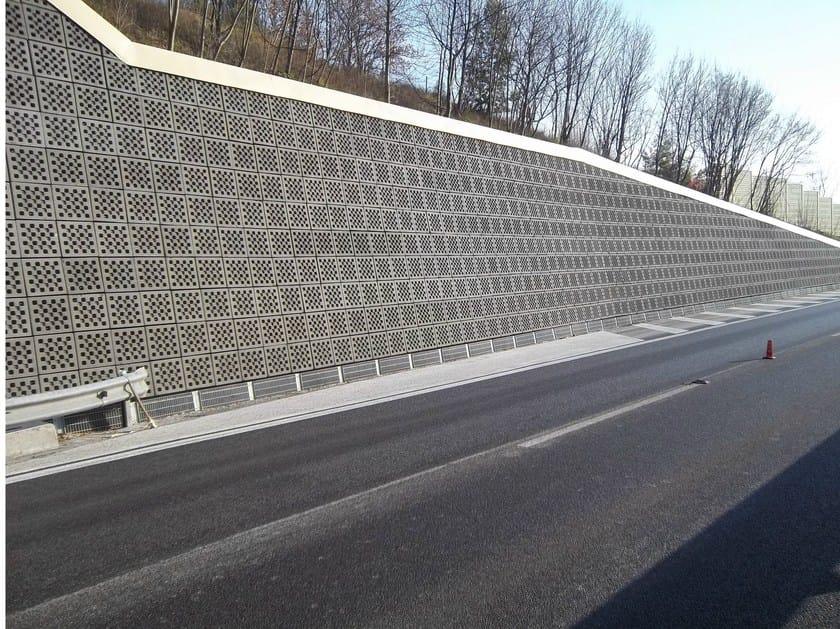 Sound absorbent concrete masonry block Rivestimento 'a secco' fonoassorbente by Edil Leca Infrastrutture