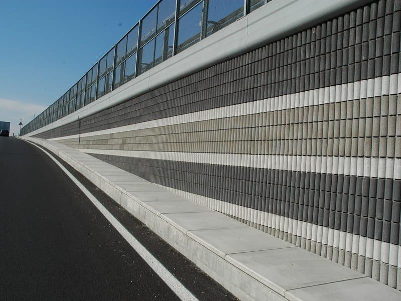 Sound absorbent concrete masonry block Blocco fonoassorbente autoportante by Edil Leca Infrastrutture