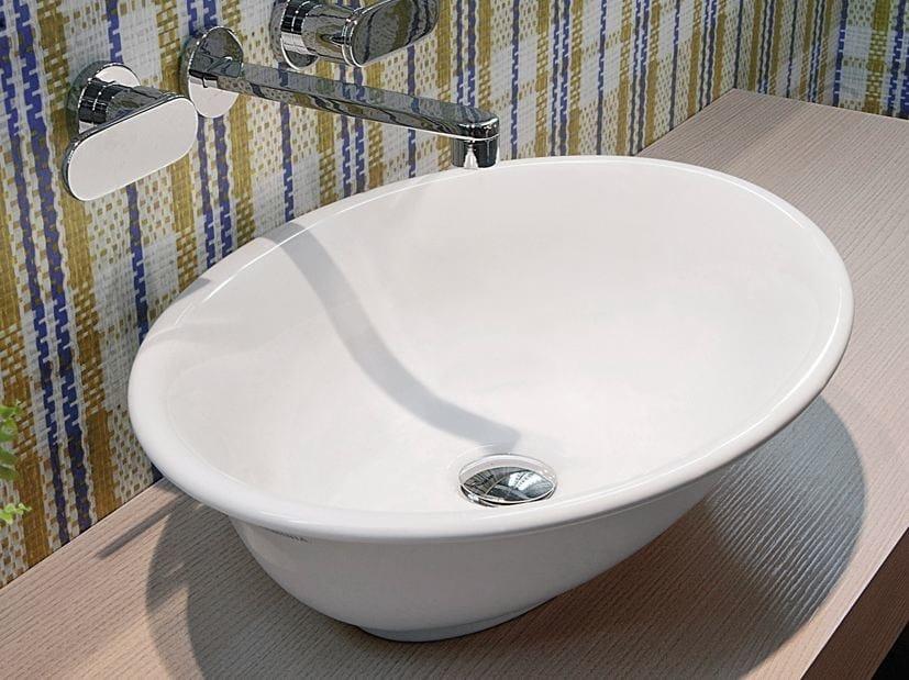 Countertop oval ceramic washbasin BOLL   Oval washbasin by CERAMICA FLAMINIA