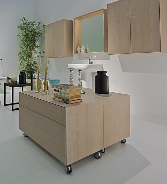 COMPONO SYSTEM | Mobile bagno con ruote dim.: cm 45 x 90 h45 - Matrix Sabbia