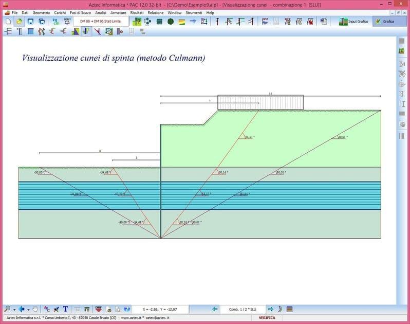 PAC Visualizzazione cunei di spinta (Metodo Culman)