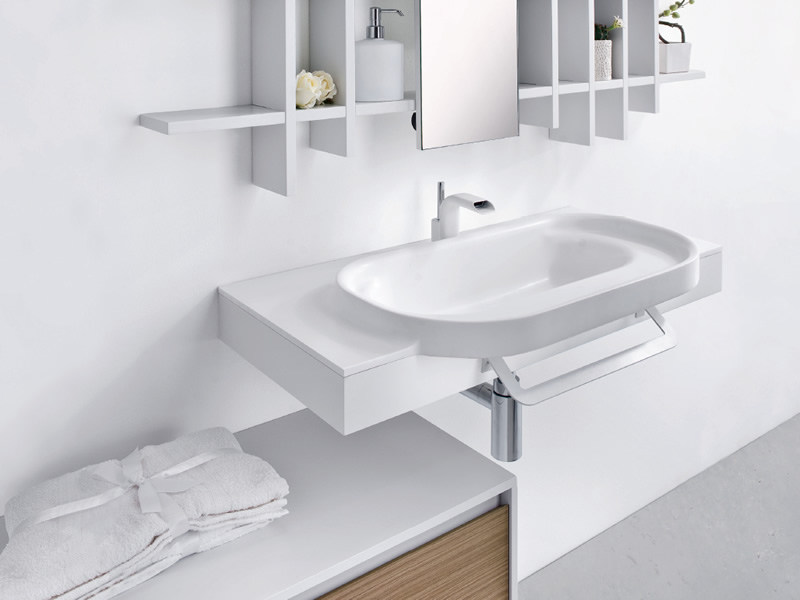 Wall-mounted washbasin with towel rail METROPOLIS 6 | Washbasin by LASA IDEA