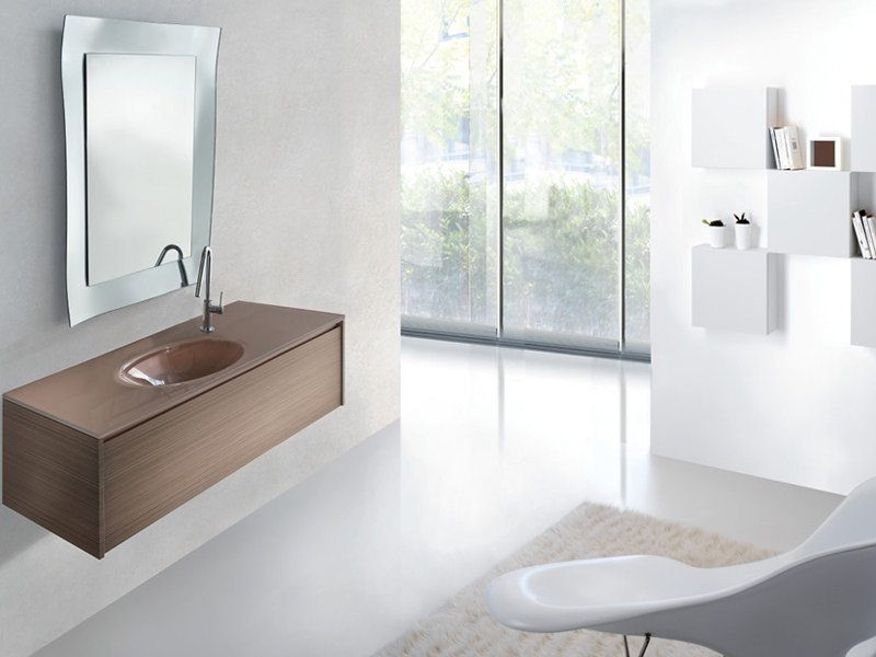 Wall-mounted walnut vanity unit METROPOLIS 17 by LASA IDEA