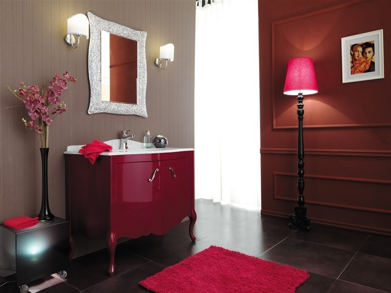 Lacquered vanity unit with doors NARCISO 2 by LEGNOBAGNO