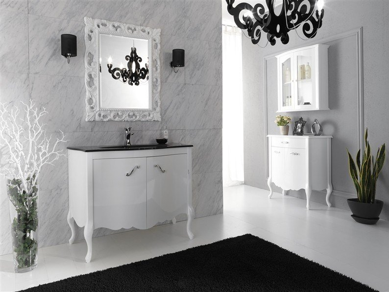 Lacquered vanity unit with doors NARCISO 1 by LEGNOBAGNO