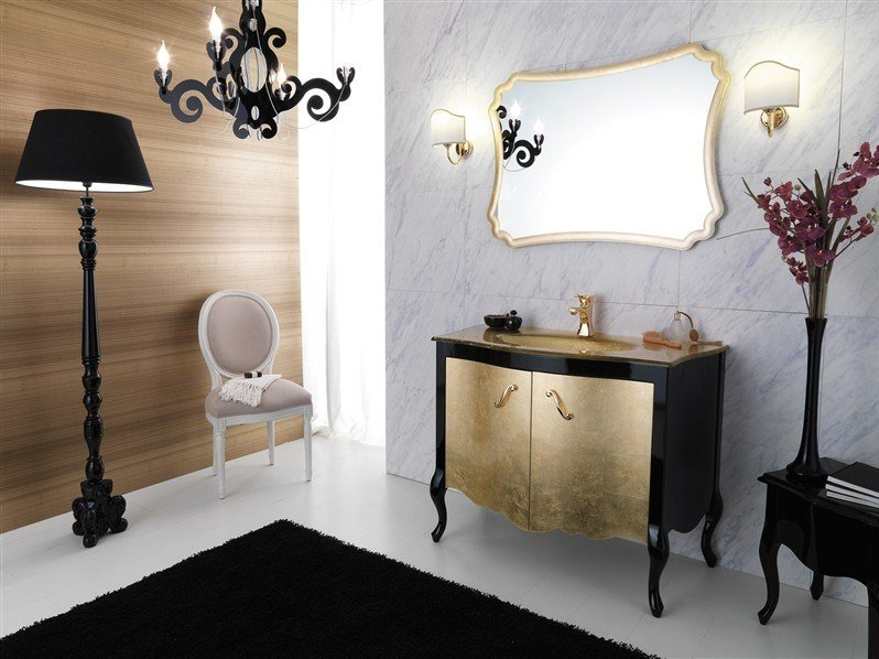 Lacquered vanity unit with doors NARCISO 3 by LEGNOBAGNO