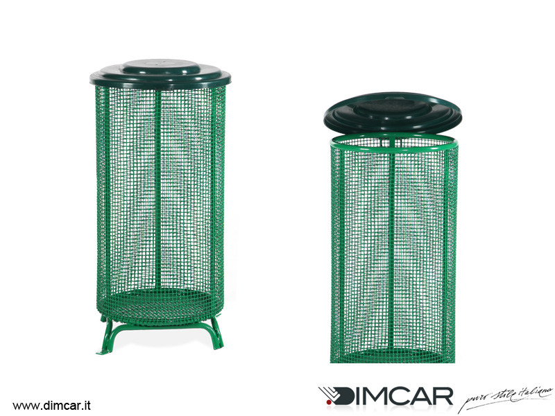 Outdoor metal litter bin with lid Cestone Eco by DIMCAR