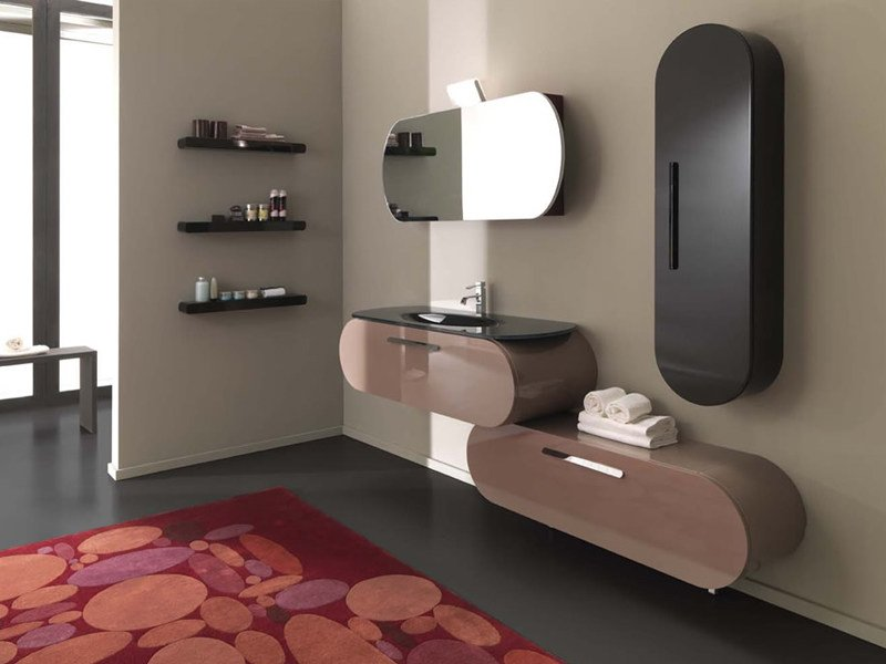 Single wall-mounted vanity unit with drawers FLUX_US 1 by LASA IDEA
