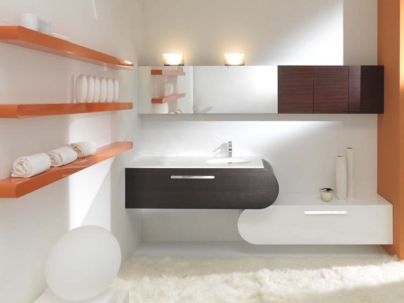 Double wall-mounted vanity unit with drawers FLUX_US 6 by LASA IDEA