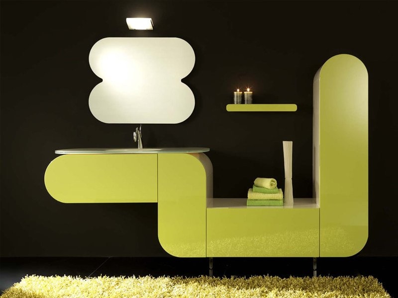 Single vanity unit with cabinets with drawers FLUX_US 9 by LASA IDEA