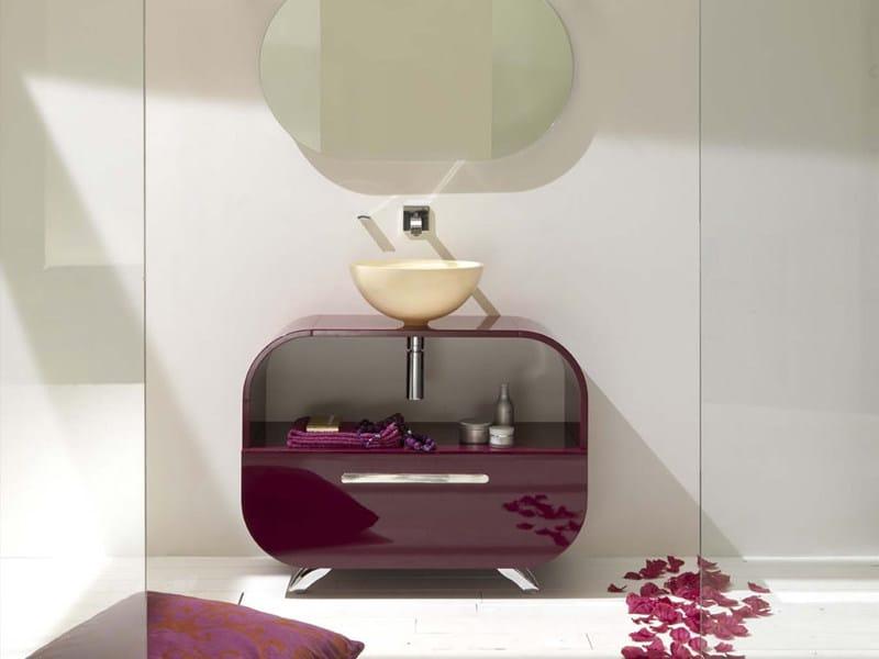 Floor-standing single vanity unit FLUX_US 12 by LASA IDEA