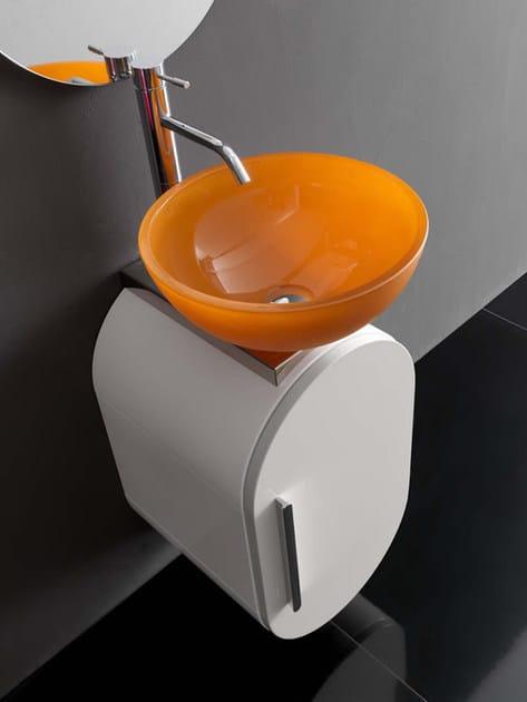 """Lavabo/Wash basin """"CV/02"""" ø 37 cm. x 16,5 h. in cristallo rosso arancio"""