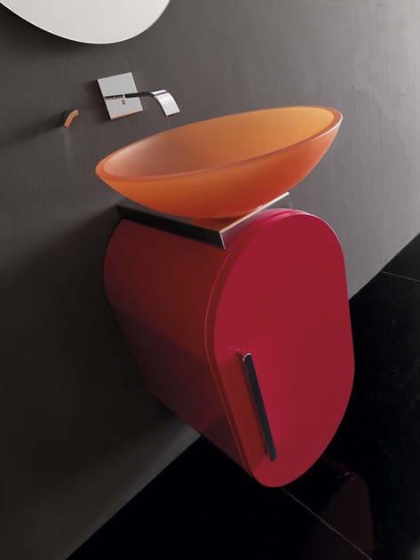 "Lavabo/Wash basin ""Bali"" ø 40 cm. x 12,5 h. in stone glass arancio"