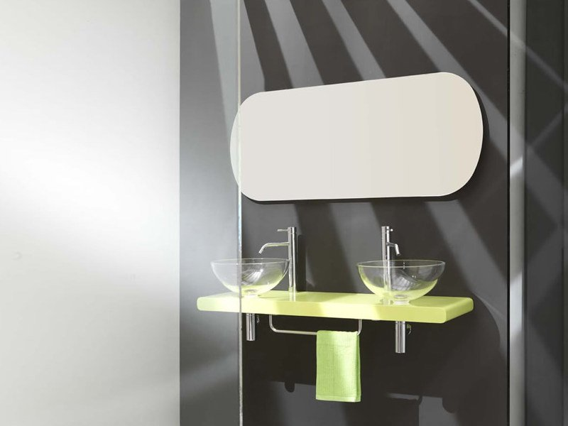 Double washbasin countertop FLUX_US 18 by LASA IDEA