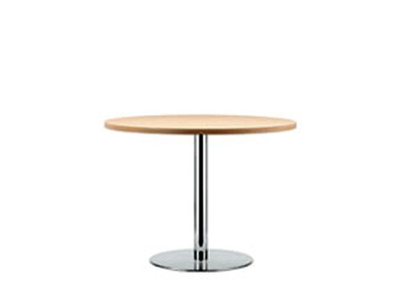 Round stainless steel and wood table S 1123 | Table by THONET