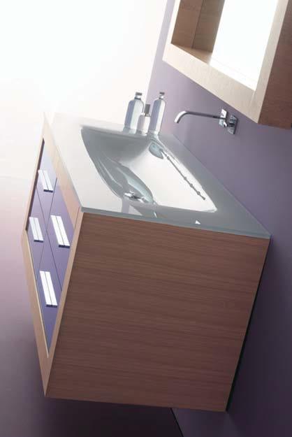 IKS 10 Iks 10 - Top in cristallo con lavabo integrato bianco BI84 art. BCT –14/130 da cm. 130x55,5x16h