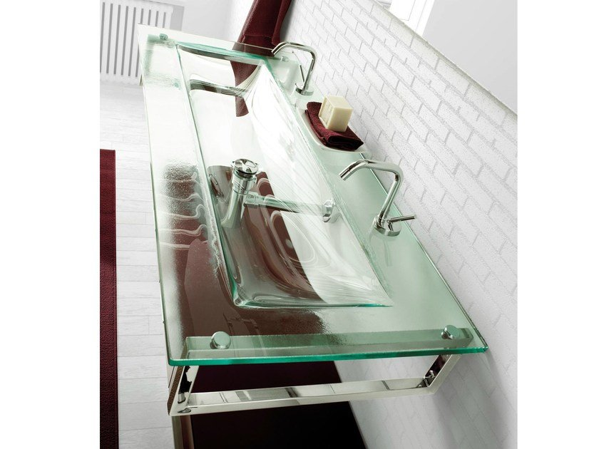 Double rectangular wall-mounted crystal washbasin TIFFANY 730 by LASA IDEA