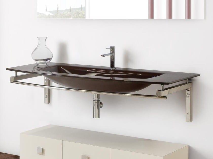 Single wall-mounted crystal washbasin TIFFANY 750 by LASA IDEA