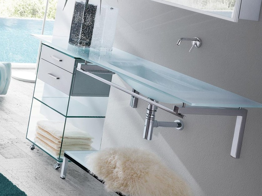 Wall-mounted crystal washbasin with towel rail TIFFANY 760 by LASA IDEA
