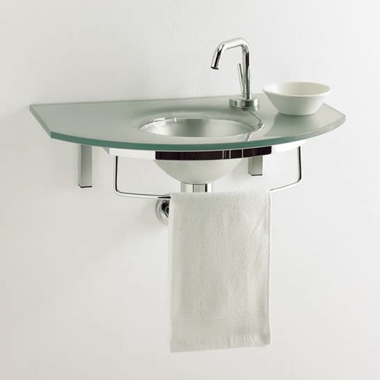 Wall-mounted washbasin with towel rail UNIK  5 by LASA IDEA