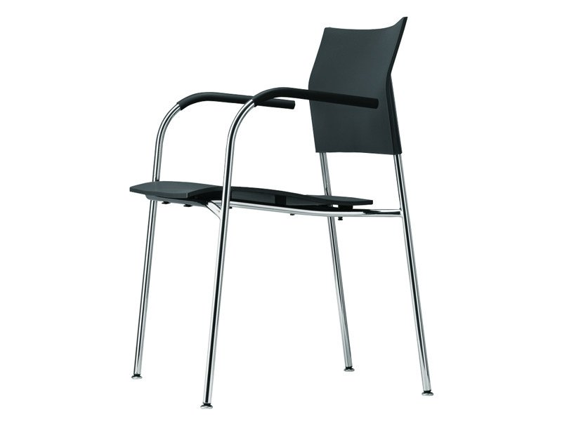 Stackable polypropylene chair with armrests S 360 F by THONET