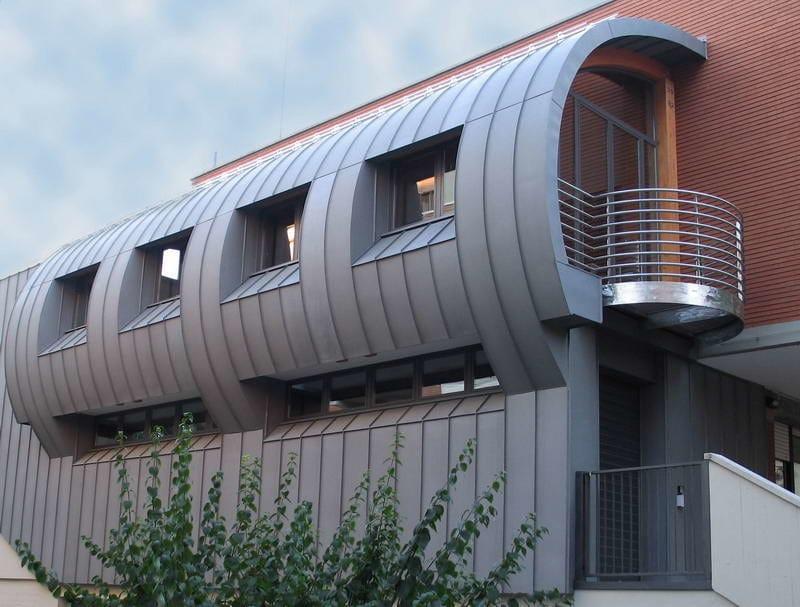 Zinco titanio VMZINC® Ampliamento Sede Cooperativa Sede Murri - Bologna - Progettista: Arch Paolo Biase - Finitura: Quartz-Zinc® - Tecnica: aggraffatura angolare
