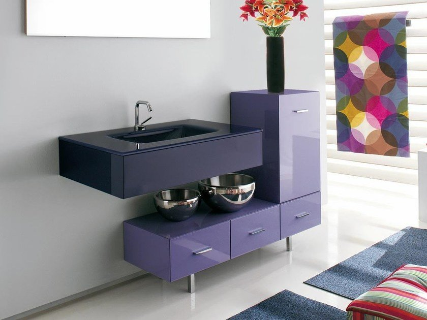 Sectional single vanity unit with drawers MARIPOSA 18 by LASA IDEA