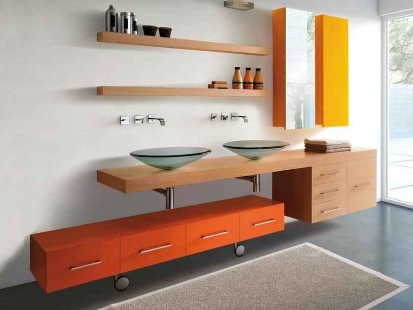 Sectional vanity unit with drawers MARIPOSA 22 by LASA IDEA